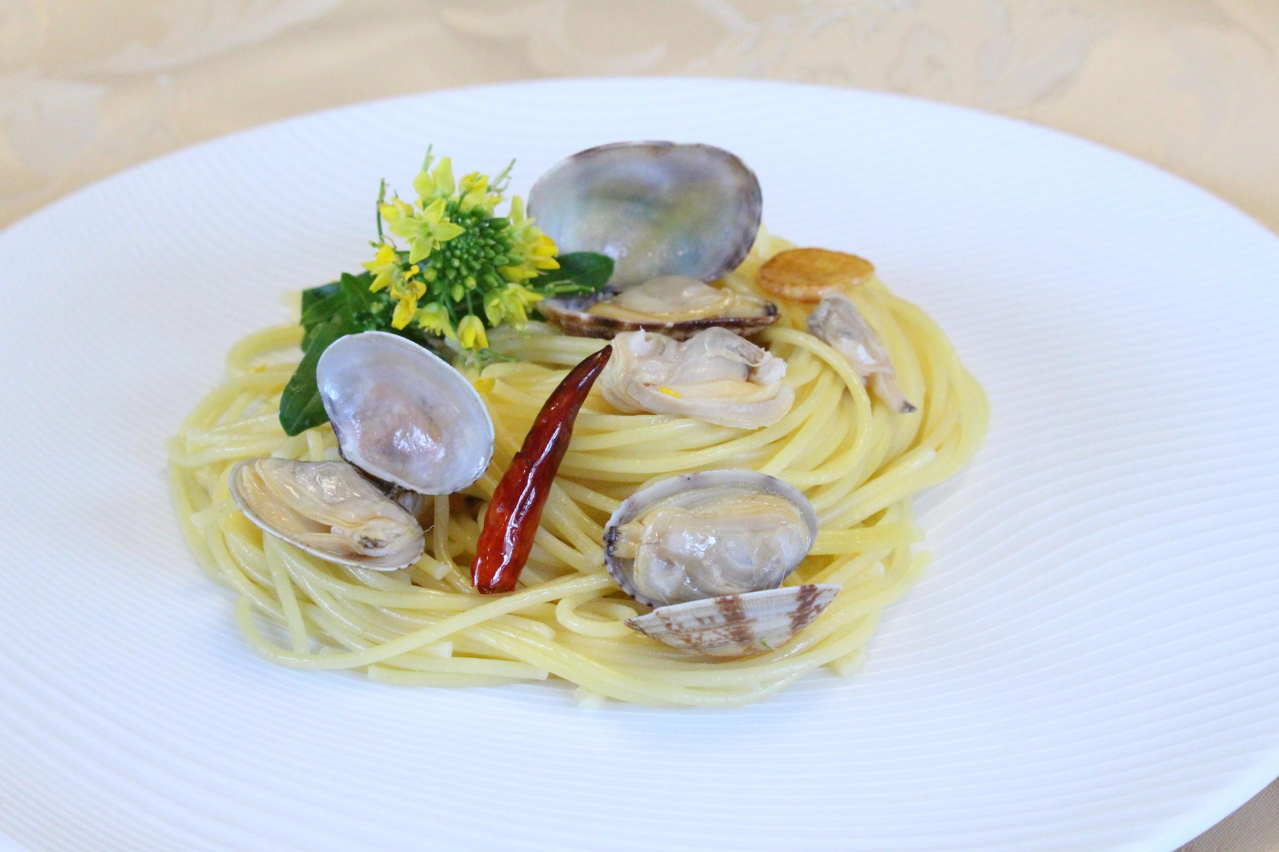 アサリとナバナのペペロンチーノスパゲティ