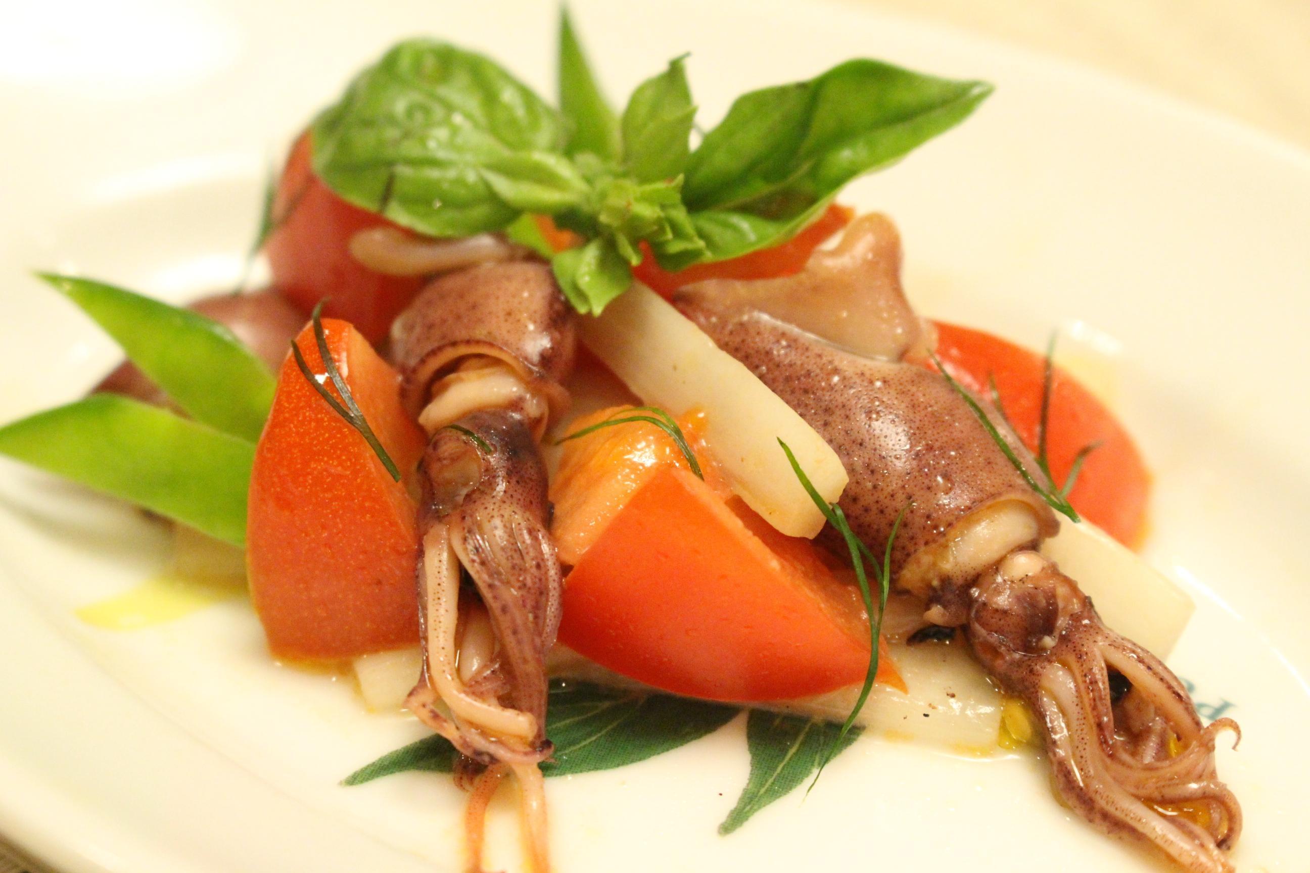 ホタルイカと春野菜のマリネ